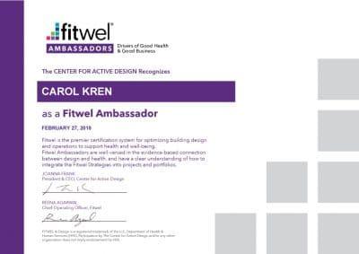 Carol Kren - Fitwell Certificate